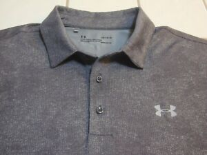 Under Armour Golf Polo Shirt Gray Heather Short Sleeve Poly Spandex Mens Large $19.99