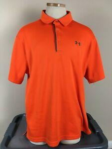 Under Armour Heat Gear Loose Orange Thick Polo Golf Shirt Men's Size XL $13.00