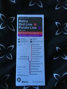 Metro Los Angeles LACMTA Red Purple Lines Train Schedule Map $13.75