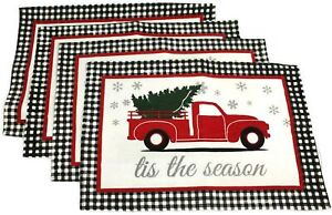 4 Pc Set Christmas Placemats Set Tapestry Style Holiday Buffalo Plaid