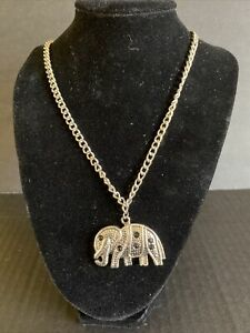 Elephant silver tone necklace with black rhinestones not signed wearable $1.99
