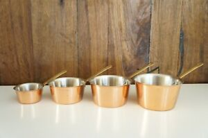 Vtg Copper Plated Measuring Cup Set Baking amp; Cooking 4 Pieces Stainless Steel $12.99