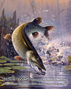 Muskie Fishing Motivational Poster Art Print Musky Lures Rods Office Wall Decor