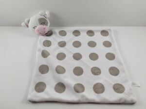 Carters Polka Dot Cow Baby Blanket White Grey Security Lovey Pink 12 x 12 $12.95