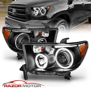 LED Halo For 2007 2014 Toyota Tundra Sequoia Projector Black Headlights $237.32