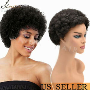 Afro Kinky Wigs for Black Women Cheap None Lace Short Curly Weave Human Hair Wig
