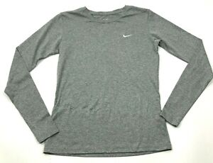 Nike Dry Fit Shirt Size Extra Small XS Gray Heather Long Sleeve Mid Base Layer $15.95
