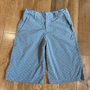Boys Under Armour Golf Shorts Heatgear Gray White Pattern Polyester Loose YLG $15.99
