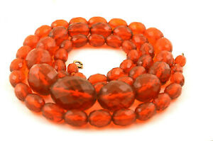 Antique Art Deco Honey Amber Bakleite Facetted Beads Necklace 110g 40in Long GBP 95.00