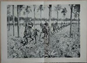 Antique Original Large 9th US Calvary Spanish American War Military Art 1899 $23.75