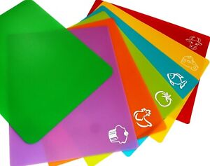 6 Plastic Cutting Mats Color Coded Flexible Plastic Cutting Mats with Food ico