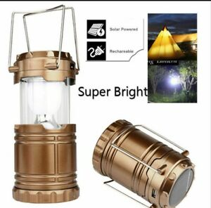 Solar or AC Rechargeable Camping Lantern Portable Outdoor 5 LED with USB Port
