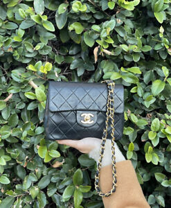 CHANEL Classic CC Flap Mini Square Chain Bag Black Quilted Gold Crossbody Coco $2895.00