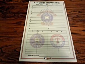 Astros vs Rangers Non Game Used Line Up Card 3 31 2013 AL Inaugural Logo Game