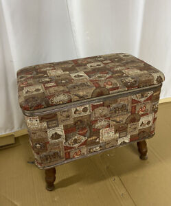 Vintage Sewing Storage Stool Basket Bench Ottoman Box Chest Beautiful condition $22.50
