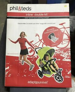 Phil Teds Inline Double Kit Explorer Second Seat Matching Sunhood Red NEW $48.00