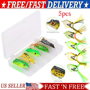 5 PCS Large Frog Topwater Soft Fishing Frogs Lure Bait Bass 1 2 oz 2 3 8quot; USA