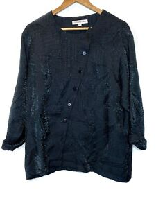 Christopher Calvin Womens Size Large Asymmetrical Rayon Top Green Button Up $45.00
