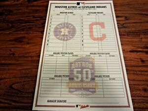 Astros vs Indians 2015 Non Game Used Line Up Card 7 9 2015 50th Logo MLB Lindor