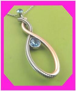 BRIGHTON NEPTUNES RINGS INFINITY GEM Blue Silver Gold Pendant NECKLACE NWtag * $53.54