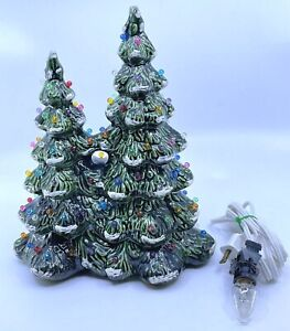 Vintage Ceramic Lighted Green Electric Christmas Tree 9 1 2 Back Bulb Hole RARE $149.00