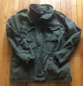 Abercrombie amp; Fitch Mens Vintage Army Green Military Jacket Size Medium $110.00