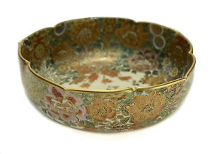 Japanese Satsuma Porcelain Bowl Multi Colored Hand Painted Flowers