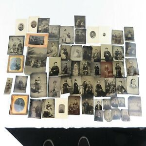 57 Antique Photographs Tintypes and Daguerreotypes Brothers Families Interesting $299.00
