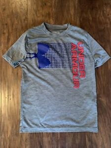 Boys Under Armour Dry Fit Shirt Youth Small Gray Red Blue $7.00