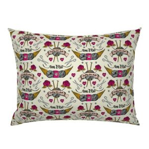 Tattoo Knitting Needles Vintage Tattoos Ting Rose Yarn Pillow Sham by Roostery $44.00