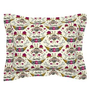 Tattoo Knitting Needles Vintage Tattoos Ting Rose Yarn Pillow Sham by Roostery $49.00