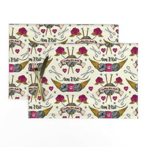 Cloth Placemats Tattoo Knitting Needles Vintage Tattoos Ting Rose Set of 2 $31.00
