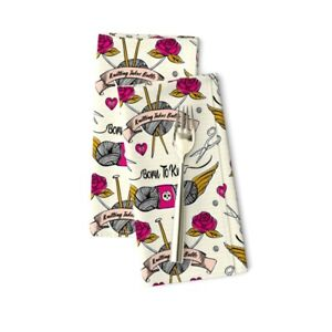 Tattoo Knitting Needles Vintage Cotton Dinner Napkins by Roostery Set of 2 $29.00