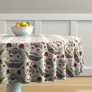 Round Tablecloth Tattoo Knitting Needles Vintage Tattoos Ting Rose Cotton Sateen $124.00