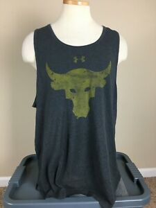 Under Armour Project Rock Gray Cotton Blend Tank Top Men's Size XXL $12.00