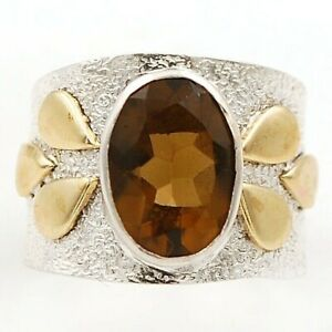 5CT Two Tone Natural Smoky Topaz 925 Sterling Silver Ring Jewelry Sz 5.5 ED29 7 $29.99