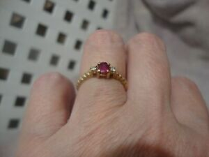 antique vintage 14k ruby and diamond ring U S size 6.25
