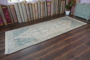 Distressed Turkish Oushak Runner RugHandwoven Wool Antique Rug Runner 4#x27;x10#x27;5