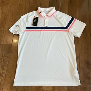 NWT Mens Under Armour Golf Polo Shirt White Pink Blue Loose Sz L $85 $32.99