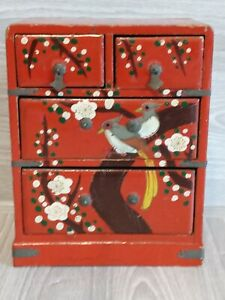 Japanese Antique Sewing Box 4 Drawer Miniature Chest Storage $44.00