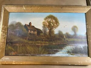 Antique quot;Landscape With Female Figure Scenequot; Oil Painting Signed And Framed $318.00