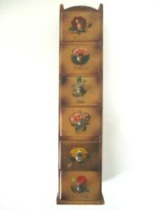 Vintage Wall Hanging Wooden Sewing Box 6 Notion Drawers Painted Flowers $27.75