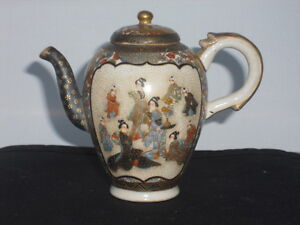 ANTIQUE JAPANESE SATSUMA MINIATURE 35 INCHES TALL TEA POTSAKE POT PERFECT
