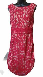Adrianna Papell Pink Red Lace Embroidered Beige Lined Dress Ladies Size 8 $19.20