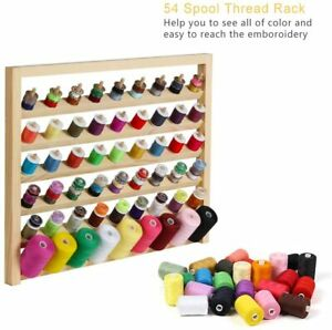 54 Spool Wooden Sewing Thread Holder Wall Mounted Embroidery Holder with Hooks $17.79