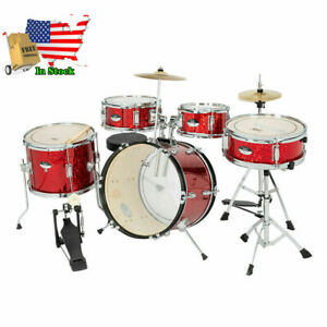 5 Piece Full Size Complete Adult Drum Set Kit with Stool amp; Sticks Red $195.60