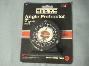 New In package Empire Magnetic Angle Protractor USA Made 2.75quot; x 3quot; #4 $9.00