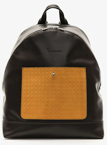 Billionaire Couture Brown Orange Italian Leather Men Backpack 2021 Authentic New $450.00