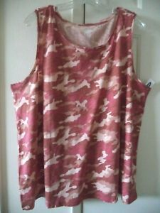 Old Navy Rust Red Pink Camouflage Slight Texture High Neck Tank Top 20 22 2X XXL