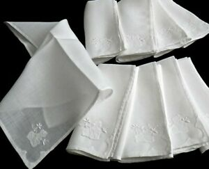 Vintage Madeira Embroidery Linen Napkins Set of 9 17quot;square Leafy Floral $36.00